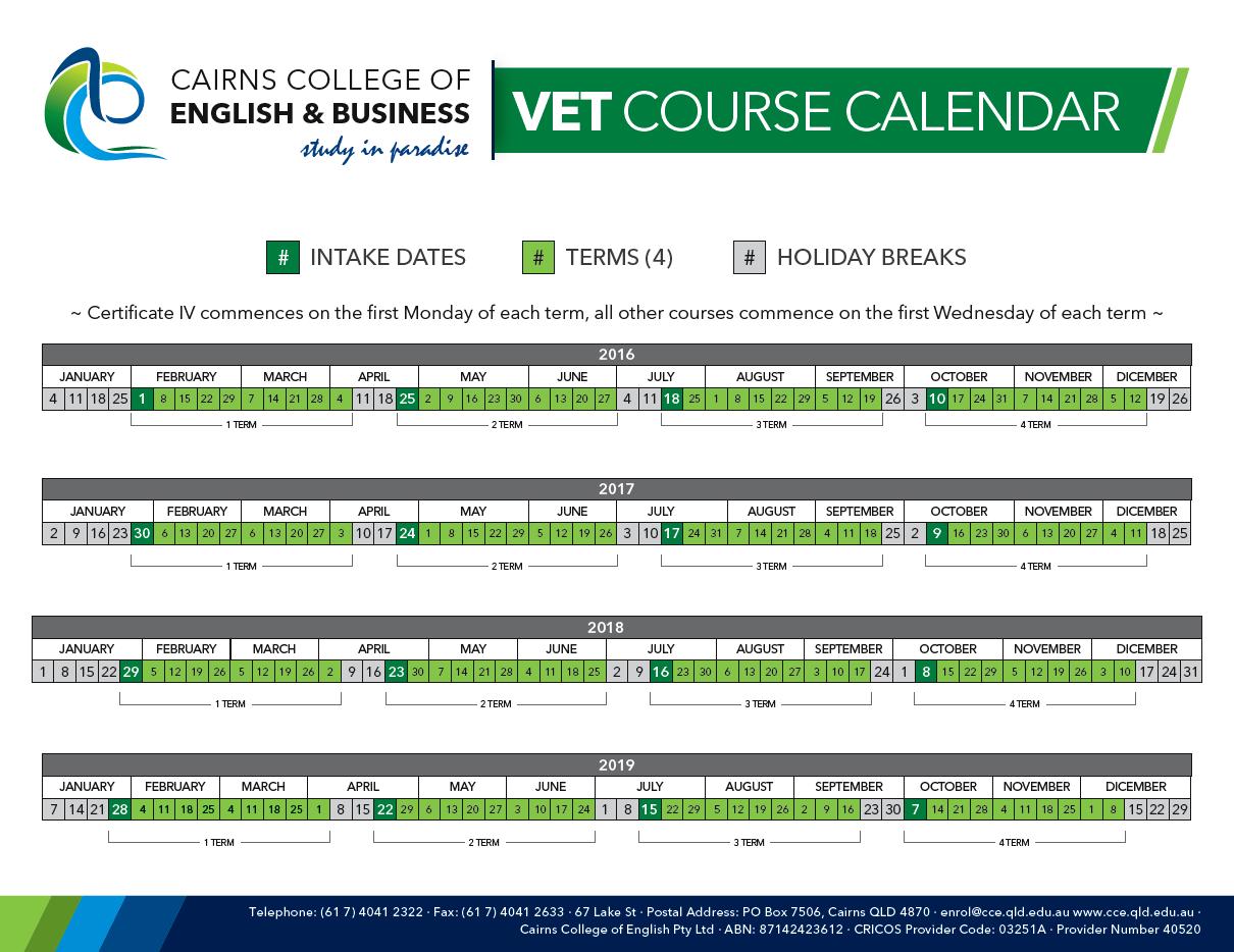 CCEB VET Courses Calendar 2016-2019