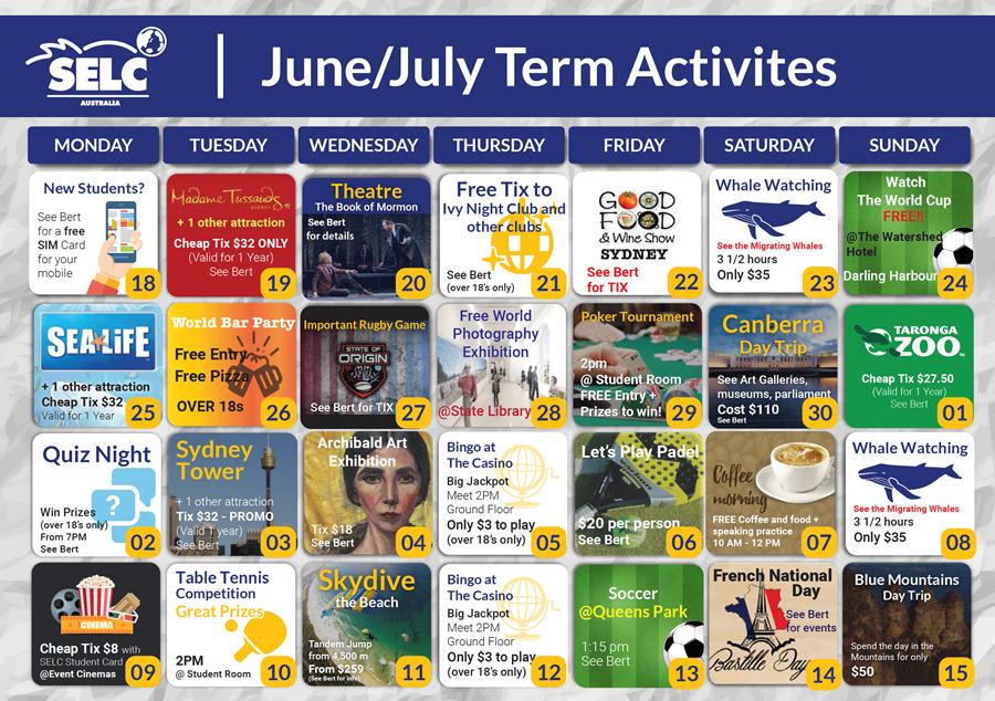 SELC アクティビティーカレンダー 2018年6,7月