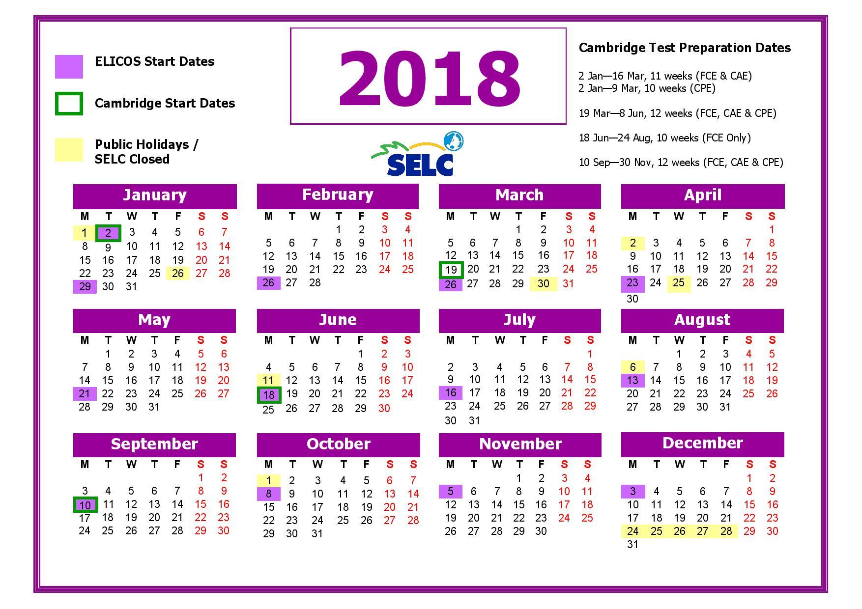 SELC Academic Calendar 2018